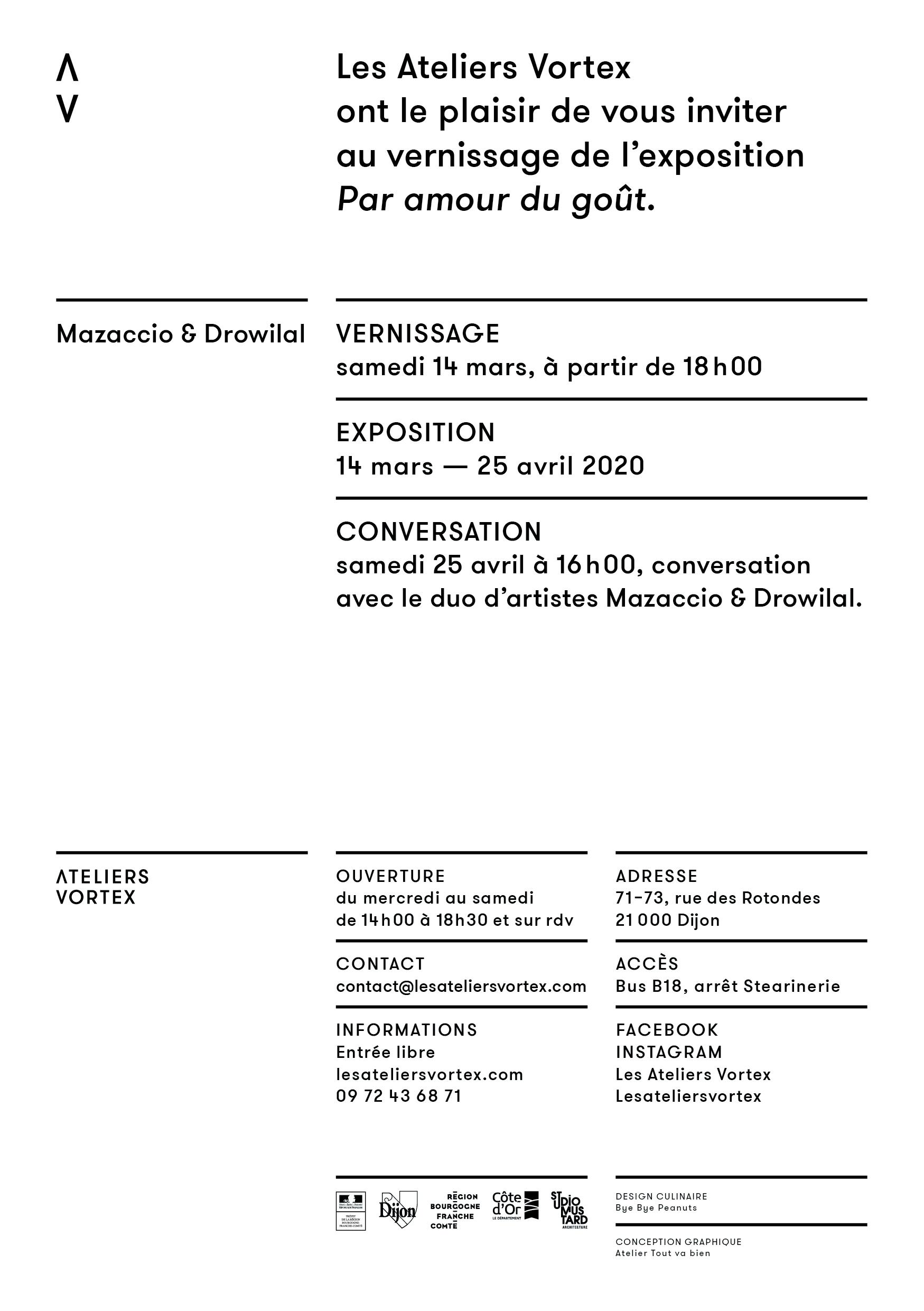 Exposition Par amour du gout de Mazaccio et Drowilal aux Ateliers Vortex